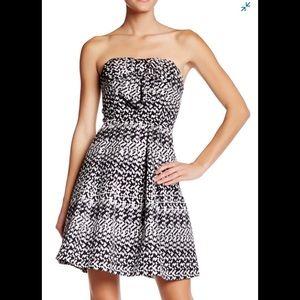 Eva Franco geometric black silver white bow dress